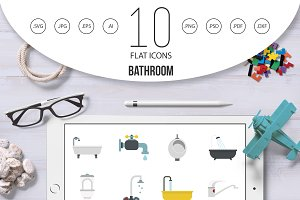 Bathroom icon set, flat style
