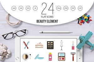 Beauty element icon set, flat style