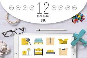 Box icon set, flat style