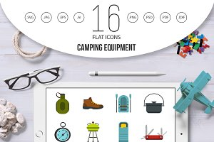 Camping equipment icons set, flat