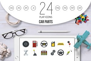 Car parts icon set, flat style