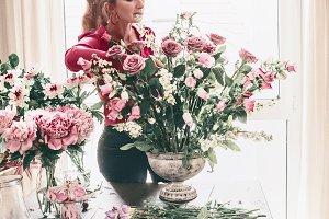 Women arranging great bouquet