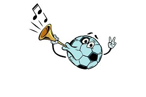 Fan horn, loud sound. Character soccer ball football. Isolate on