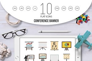 Conference banner icon set, flat