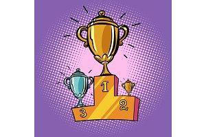 cups winner, first second third place pedestal. Sports champions