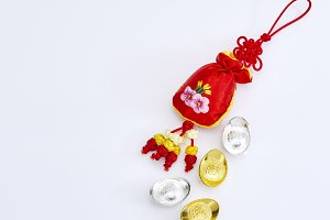 Happy Chinese new year  with red bag and Gold money