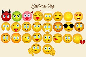Emoticons, Similes Png Pack