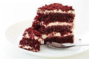 Red velvet cakes isolated on white background