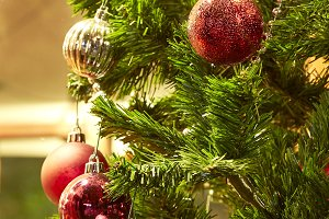 Christmas tree decorations in the home