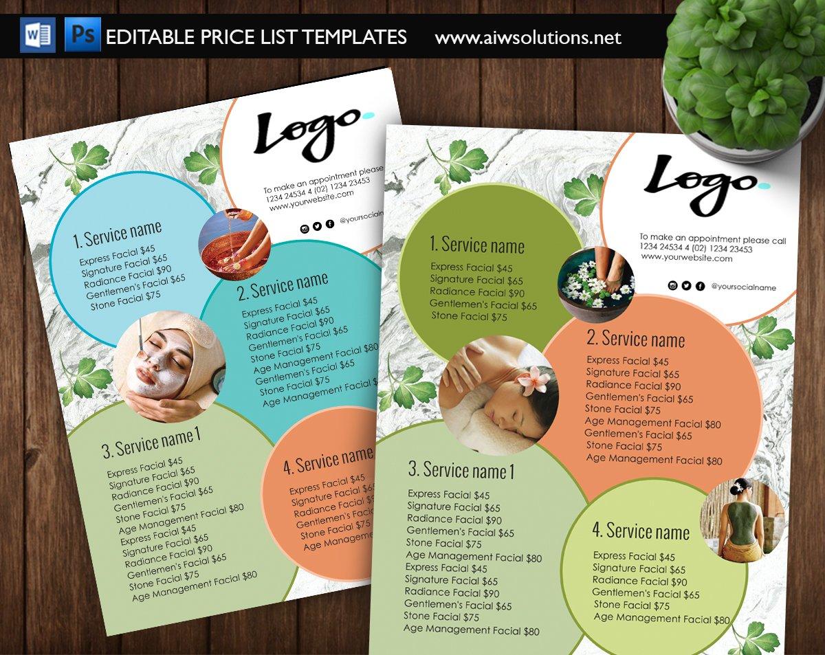 Spa Menu Price List Id09 Flyer Templates Creative Market