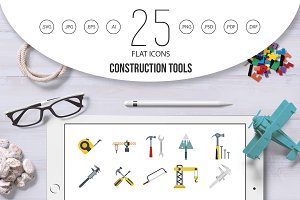 Construction tools icon set, flat