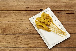 Pork satay,Grilled pork served with peanut sauce or sweet and sour sauce
