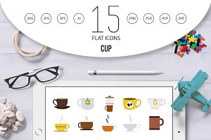 Cup icon set, flat style