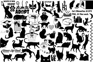 Cat Silhouettes AI EPS PNG