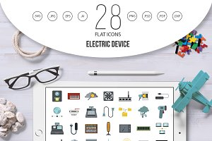 Electric device icon set, flat style