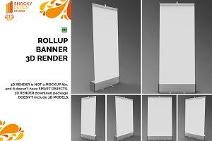 Roll up Banner 3D Render