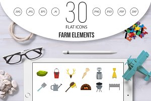 Farm elements icon set, flat style