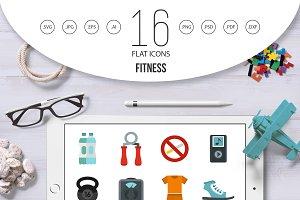 Fitness icons set, flat style