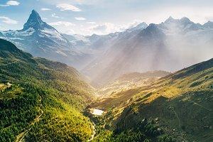 Matterhorn mountain epic aerial view