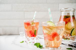Iced watermelon and lime green tea