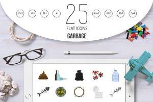Garbage icon set, flat style