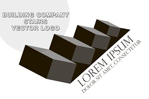 Building company stairs vector logo