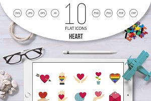 Heart icon set, flat style