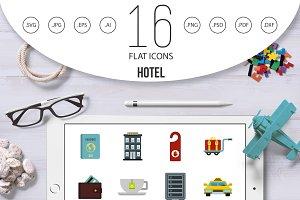 Hotel icons set, flat style