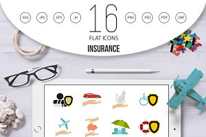 Insurance icons set, flat style
