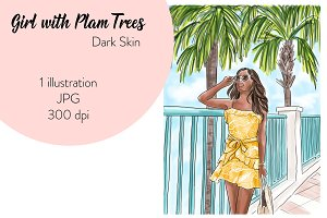 Girl with Palm Trees - Dark Skin