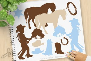 Cowboy Silhouettes Clipart + SVG