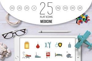 Medicine icon set, flat style