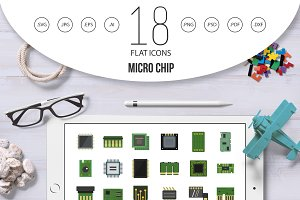 Micro chip icon set, flat style
