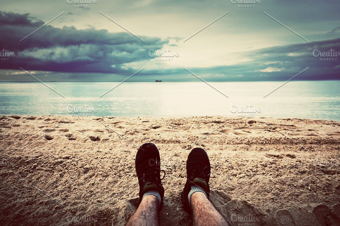 Autum beach. Legs in the foreground - Nature