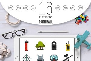 Paintball icons set, flat style