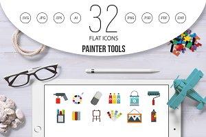 Painter tools icon set, flat style