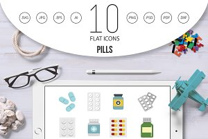 Pills icon set, flat style