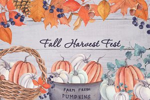 """Fall Harvest Fest"" watercolor set"