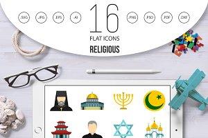 Religious symbol icons set, flat sty