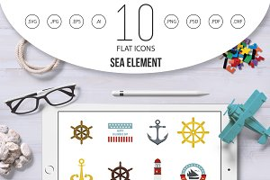 Sea element icon set, flat style