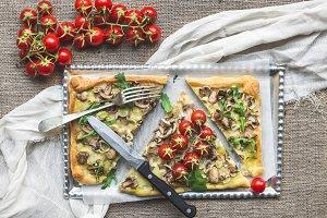 Rustic mushroom (fungi) square pizza