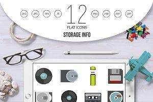 Storage info icon set, flat style