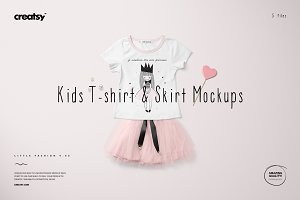 Girls T-shirt & Skirt Mockup Set