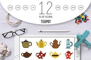 Teapot icon set, flat style