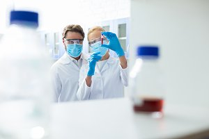 Nice smart scientists working in the medical lab