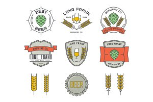 Vector linear brewery logos.