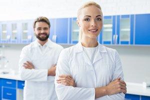 Positive female scientist enjoying her job