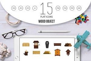 Wood object icon set, flat style