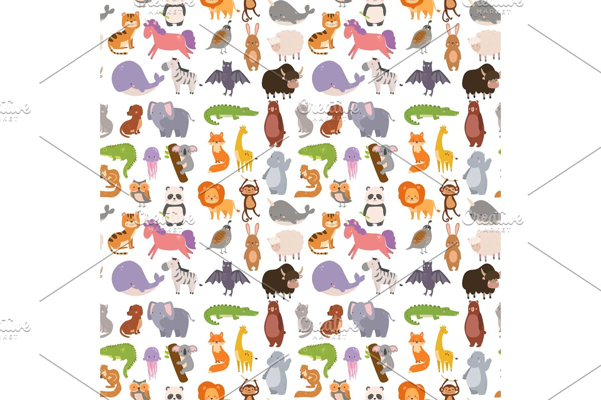 Animals Cartoon Wildlife Nature Seamless Pattern Background Jungle Texture Bird Colorful Retro Wallpaper Vector