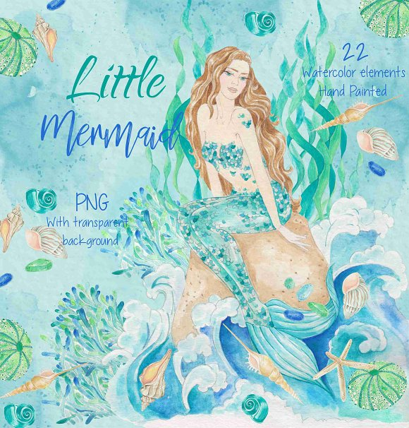 Watercolor clip art Mermaid